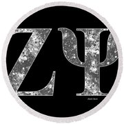 Round Beach Towel featuring the digital art Zeta Psi - Black by Stephen Younts