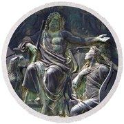 Round Beach Towel featuring the photograph Zeus Bronze Statue Dresden Opera House by Jordan Blackstone