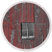 Zink Rd Barn Window Bw Red Round Beach Towel by Daniel Thompson