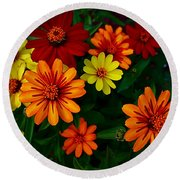Zinnia Kaleidoscope Of Color Round Beach Towel