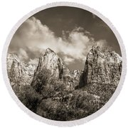 Round Beach Towel featuring the photograph Zion Court Of The Patriarchs In Sepia by Tammy Wetzel