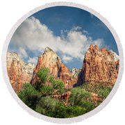 Round Beach Towel featuring the photograph Zion Court Of The Patriarchs by Tammy Wetzel