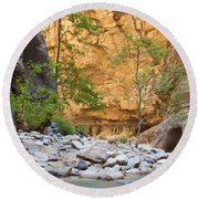 Round Beach Towel featuring the photograph Zion Narrows by Bryan Keil