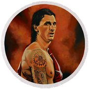 Zlatan Ibrahimovic Painting Round Beach Towel