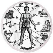 Zodiac Man Drawing Relating Astrology Round Beach Towel