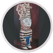 Zuni Clown Round Beach Towel