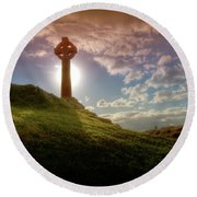 Celtic Cross Round Beach Towel by Beverly Cash