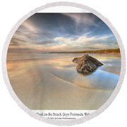 Dusk On The Beach Round Beach Towel