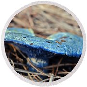 Round Beach Towel featuring the photograph  Indigo Milky by Susan Leggett
