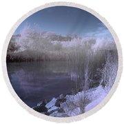 Infrared Pond Round Beach Towel