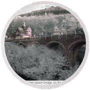 Infrared Train Station Bridge Round Beach Towel
