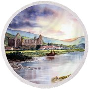 Late Evening At Tintern Abbey Round Beach Towel
