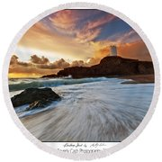 Llanddwyn Island Lighthouse Round Beach Towel