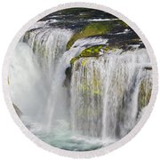 Lower Falls On The Upper Lewis River Round Beach Towel