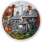 Montreal Griffintown Urban Scene Les Miserables By Prankearts Round Beach Towel
