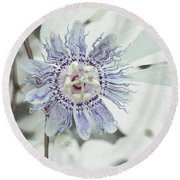 Passion Flower On White Round Beach Towel