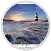 Penmon Point Lighthouse Round Beach Towel