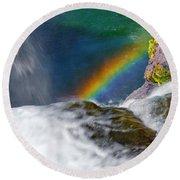 Rainbow By The Waterfall Round Beach Towel
