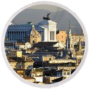 Rome's Rooftops Round Beach Towel