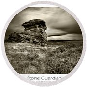 Stone Guardian Round Beach Towel