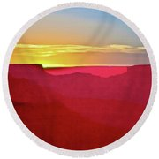 Round Beach Towel featuring the painting   Sunset At Grand Canyon Desert View by Bob and Nadine Johnston