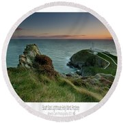 Sunset At South Stack Lighthouse Round Beach Towel
