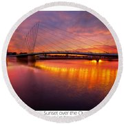 Sunset Over The Quay Round Beach Towel