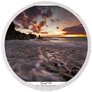 Sunset Tides - Porth Swtan Round Beach Towel by Beverly Cash