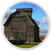 Vintage Cadillac And Barn Round Beach Towel by Lyle Hatch