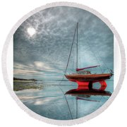 Waiting For The Tide Round Beach Towel by Beverly Cash