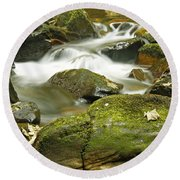 Water Flow At Torc  Round Beach Towel