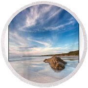 Welsh Coast - Porth Colmon Round Beach Towel by Beverly Cash