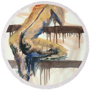 04782 At The Bar Round Beach Towel