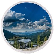 Above Castle Lake Round Beach Towel