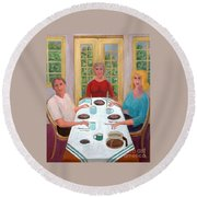 Afternoon Coffee Round Beach Towel by Fred Jinkins