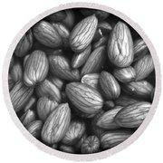 Almonds In H2o Round Beach Towel