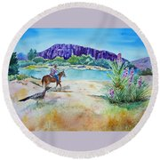 Texas - Along The Rio-grande Round Beach Towel