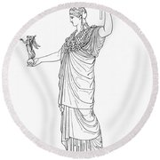 Athena, Greek Goddess Round Beach Towel by Photo Researchers