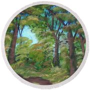 Autumn Evening Round Beach Towel