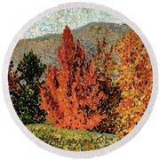 Autumn Landscape Round Beach Towel by Henri-Edmond Cross