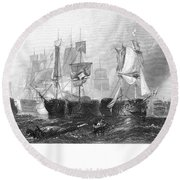 Battle Of Trafalgar, 1805 Round Beach Towel