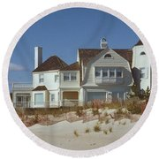Beach House Round Beach Towel by Mark Greenberg