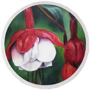 Round Beach Towel featuring the painting Big Bold And Beautiful by Lori Brackett