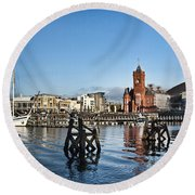 Cardiff Bay Panorama Round Beach Towel by Steve Purnell