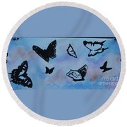 Chasing Butterflies Round Beach Towel