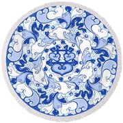 Chinese Traditional Blue And White Porcelain Style Pattern Round Beach Towel