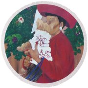 Christmas Lioness Round Beach Towel