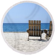 Round Beach Towel featuring the photograph Cozumel Mexico Beach Chairs And Blue Skies by Shawn O'Brien