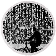 Cycling Silhouette Round Beach Towel by Carlos Caetano