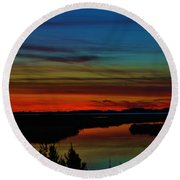 Deep Marshland Sunset Round Beach Towel